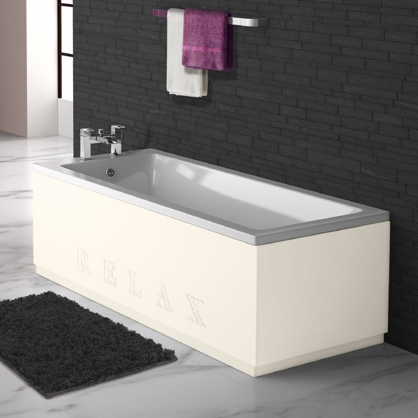 Matt Cream Engraved 2 Piece adjustable Bath Panels